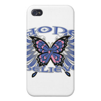 Male Breast Cancer Hope Believe Butterfly iPhone 4 Cases