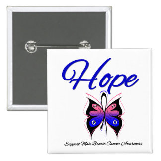 Male Breast Cancer Hope Butterfly Ribbon Pinback Buttons