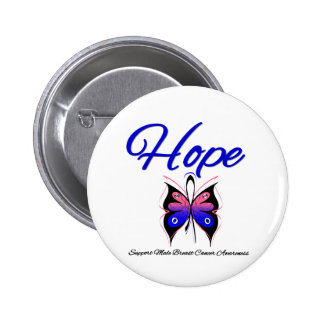 Male Breast Cancer Hope Butterfly Ribbon Button