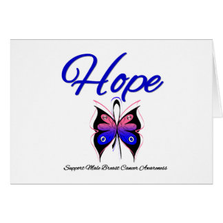 Male Breast Cancer Hope Butterfly Ribbon Card