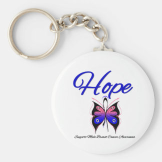 Male Breast Cancer Hope Butterfly Ribbon Key Chains