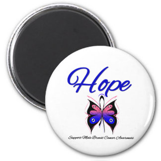 Male Breast Cancer Hope Butterfly Ribbon Magnet