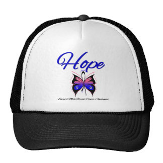 Male Breast Cancer Hope Butterfly Ribbon Mesh Hat