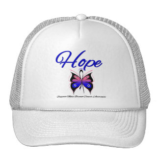 Male Breast Cancer Hope Butterfly Ribbon Mesh Hats