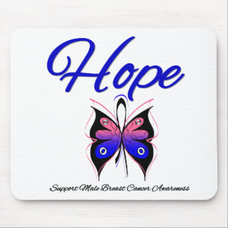 Male Breast Cancer Hope Butterfly Ribbon Mouse Mats