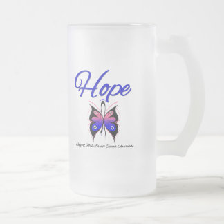 Male Breast Cancer Hope Butterfly Ribbon Mugs