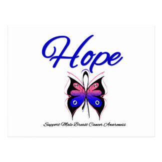 Male Breast Cancer Hope Butterfly Ribbon Post Card
