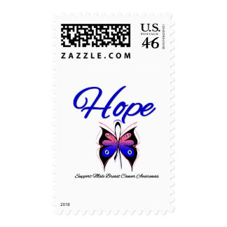 Male Breast Cancer Hope Butterfly Ribbon Stamp