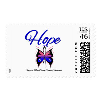 Male Breast Cancer Hope Butterfly Ribbon Stamps