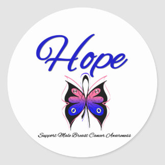 Male Breast Cancer Hope Butterfly Ribbon Sticker