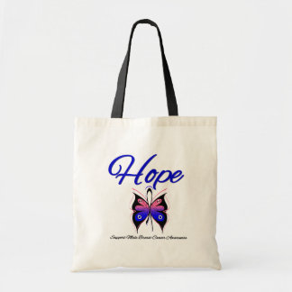 Male Breast Cancer Hope Butterfly Ribbon Tote Bag