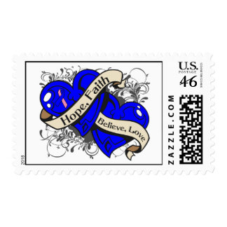 Male Breast Cancer Hope Faith Dual Hearts Stamps