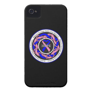 Male Breast Cancer Hope Intertwined Ribbon Case-Mate iPhone 4 Cases