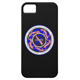 Male Breast Cancer Hope Intertwined Ribbon iPhone 5 Cases