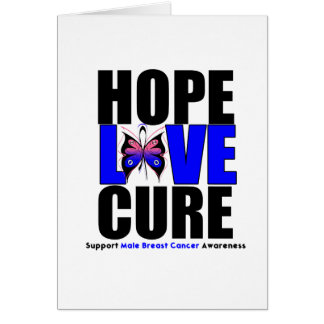 Male Breast Cancer Hope Love Cure Greeting Cards