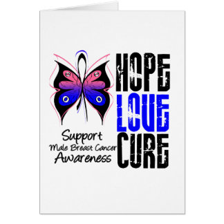 Male Breast Cancer Hope Love Cure Grunge Greeting Cards