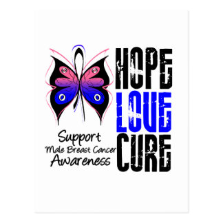 Male Breast Cancer Hope Love Cure (Grunge) Postcard