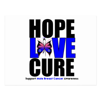 Male Breast Cancer Hope Love Cure Postcard