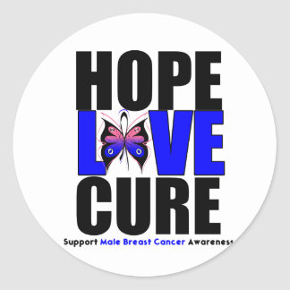 Male Breast Cancer Hope Love Cure Classic Round Sticker