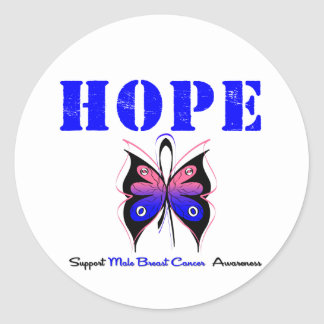 Male Breast Cancer HOPE Classic Round Sticker