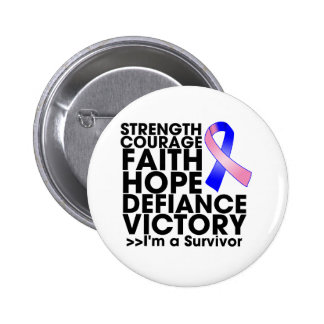 Male Breast Cancer Hope Strength Victory Pinback Buttons