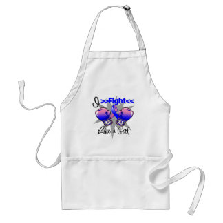 Male Breast Cancer I Fight Like a Girl With Gloves Adult Apron
