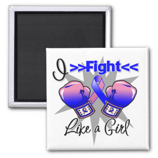 Male Breast Cancer I Fight Like a Girl With Gloves 2 Inch Square Magnet