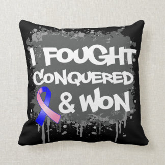 Male Breast Cancer I Fought Conquered Won Pillows