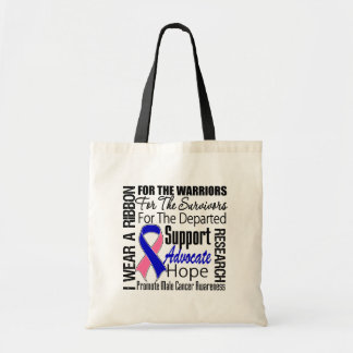 Male Breast Cancer I Wear a Ribbon TRIBUTE Canvas Bag