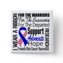 Male Breast Cancer I Wear a Ribbon TRIBUTE Pinback Button