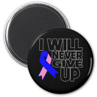 Male Breast Cancer I Will Never Give Up 2 Inch Round Magnet