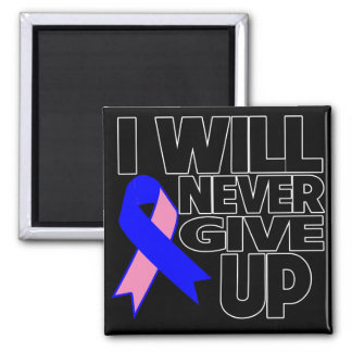Male Breast Cancer I Will Never Give Up 2 Inch Square Magnet