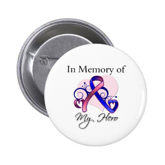 Male Breast Cancer In Memory of My Hero Button