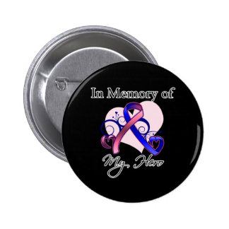 Male Breast Cancer In Memory of My Hero Pins