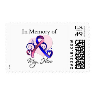 Male Breast Cancer In Memory of My Hero Postage Stamps