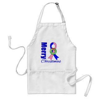Male Breast Cancer Merry Christmas Ribbon Adult Apron