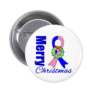 Male Breast Cancer Merry Christmas Ribbon Buttons