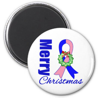 Male Breast Cancer Merry Christmas Ribbon Fridge Magnets