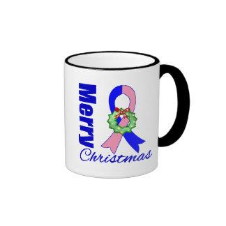 Male Breast Cancer Merry Christmas Ribbon Ringer Coffee Mug