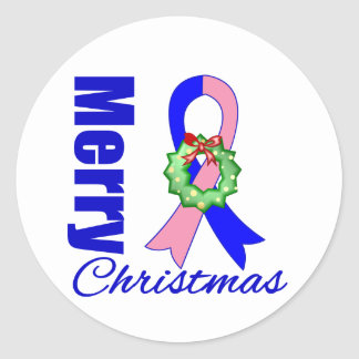 Male Breast Cancer Merry Christmas Ribbon Classic Round Sticker