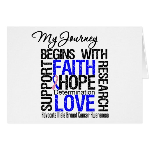 Male Breast Cancer My Journey Begins With FAITH Greeting Card