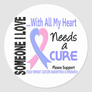 Male Breast Cancer Needs A Cure 3 Classic Round Sticker