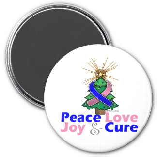 Male Breast Cancer Peace Love Joy Cure 3 Inch Round Magnet