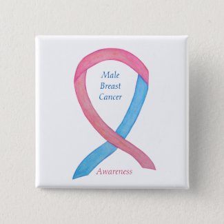 Male Breast Cancer Blue and Pink Awareness Ribbon Pins