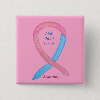 Male Breast Cancer Pink Awareness Ribbon  Pin