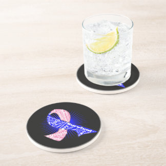 Male Breast Cancer Ribbon Powerful Slogans Coasters