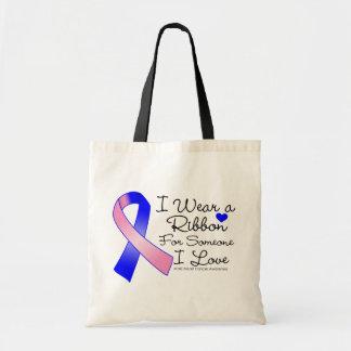 Male Breast Cancer Ribbon Someone I Love Budget Tote Bag