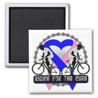 Male Breast Cancer Riding For The Cure 2 Inch Square Magnet