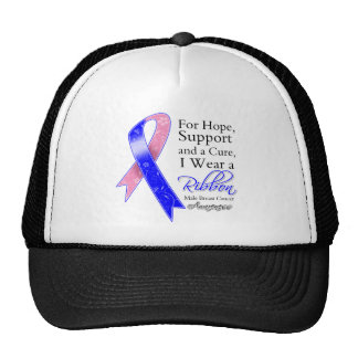 Male Breast Cancer Support Hope Awareness Hats