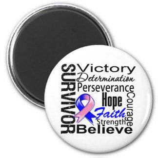 Male Breast Cancer  Survivor Collage Fridge Magnets